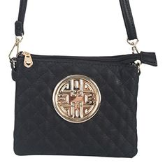 5b68e435647b Rimen Co Gold Medallion Womens Fashion Crossbody Handbag Bag Adjustable  Strap Wallet Purse DH2478 Black