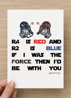 Star Wars Valentines Day Card R2d2 R4d4 Funny By Jlgpaperdesigns