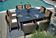 The Via Collection 8-Person All Weather Wicker Patio Furniture Dining Set
