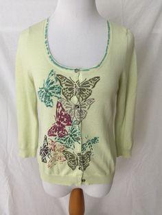 FIELD FLOWER light green butterfly print 100% cotton cardigan sweater Women's M…