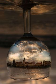 City through a wine glass