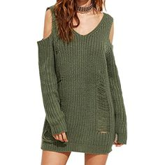 Women's Casual Cold Shoulder Ripped Knit Pullover Sweaters -- Want additional info? Click on the image. (This is an affiliate link) #Sweaters