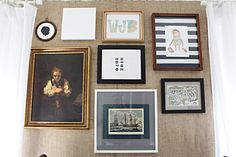 Art gallery with mixed frames and mats