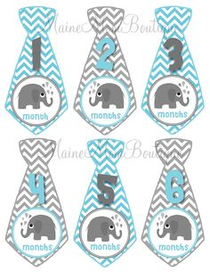 ON SALE  Baby Monthly Stickers Boy GIFT Monthly Milestone Bodysuit Photo Elephant Blue Grey Tie Stickers Month Sticker Photo Prop on Etsy, $7.45