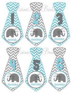 ON SALE  Baby Monthly Stickers Boy GIFT Monthly Milestone Bodysuit Photo Elephant Blue Grey Tie Stickers Month Sticker Photo Prop on Etsy, $7.45