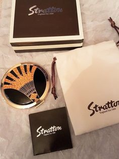 Art Deco Pattern in Orange and Black by Stratton. Powder Compact with Mirror. Presented in Original Gift Box with Carry Pouch Vintage Gifts, Vintage Items, Young Sherlock Holmes, Stratton Compact, Art Deco Pattern, Flower Girl Gifts, Bridesmaids, Powder, Pouch