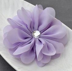 b245e07588c 3 Lavender Purple Chiffon Flower Soft Fabric Silk Rhinestone Ballerina  Twirl Flower Bridal Wedding B