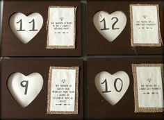 Wedding DIY: Picture Frame + Burlap Table Numbers | Could do different design, but like the personal concept for table numbers.