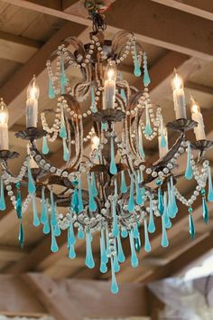 You can order the aqua prisms and add them to any chandelier. I did this to the girls chandelier but with violet prisms. Lustre Vintage, Vintage Roses, Sitting In A Tree, Opaline, Chandelier Lighting, Chandelier Redo, Girls Chandelier, Crystal Chandeliers, Light Up