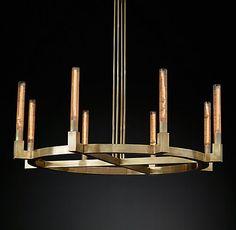RH Modern's Cannele Round Chandelier Modern Brass