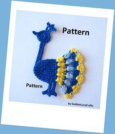 Peacock Applique Crochet Pattern PDF by GoldenLucyCrafts on Etsy, $3.80