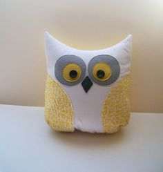 Grey and Yellow Owl Pillow