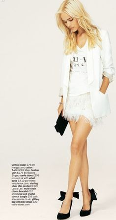 white outfit w/black shoes&clutch