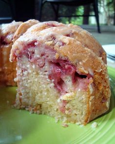 Fresh Strawberry Yogurt Cake:  1 cup (2 sticks) butter, softened 2 cups sugar 3 eggs 3 Tb. lemon juice, divided Zest of 1 lemon 2 ½ cups all-purpose flour, divided ½ tsp. baking soda ½ tsp. salt 8 oz. plain or vanilla, Greek yogurt 12 oz. fresh strawberries, diced 1 cup powdered sugar. nice site: http://www.aspicyperspective.com/2012/09/mango-cream-tres-leches-cake-recipe.html