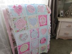 HEARTS And FLOWERS RaG QUILT Girly Soft And Pretty