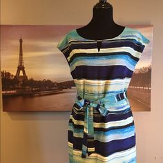 Marc New York Dress A fun dress for spring and summer in multiple shades of blue. Wear with a blazer and heels or cardigan and flats. Worn only once, this dress is in great condition. Marc New York by Andrew Marc Dresses Mini