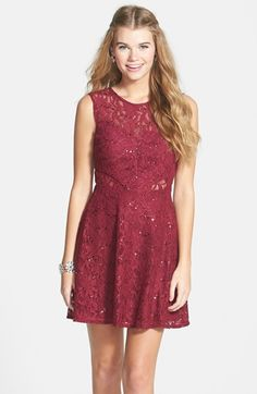 Hailey+Logan+Sequin+Lace+Illusion+Skater+Dress+(Juniors)+available+at+#Nordstrom