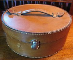 Great Antique Leather Collar Box with Seven Victorian Collars