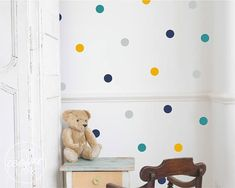 Polka Dots 4CM | 4x Colours | Mix of Modern Colours | Circles Wall Decal Vinyl Sticker Spots | Set of 72 | Baby Nursery OR Kids Room #ad