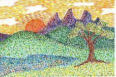 2nd Grade Pointillism Landscapes