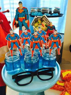 Blue jello at a superhero birthday party! See more party planning ideas at CatchMyParty.com!