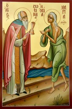 Mary of Egypt & St. Zosima by Costas Gerasimou St Mary Of Egypt, Byzantine Icons, Orthodox Christianity, Orthodox Icons, Saints, Creations, Princess Zelda, Painting, Fictional Characters