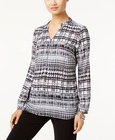 NY Collection Petite Printed Grommet-Neck Top