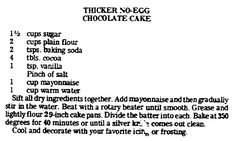 "Recipe for no-egg chocolate cake, published in the Advocate newspaper (Baton Rouge, Louisiana), 10 February 1977. Read more on the GenealogyBank blog: ""Old Fashioned Valentine's Day Treats & Sweets."" http://blog.genealogybank.com/old-fashioned-valentines-day-treats-sweets.html"