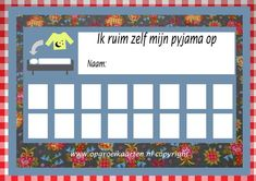 Beloningskaart pyjama opruimen