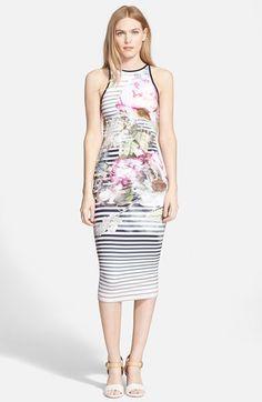 Ted+Baker+London+'Laya+Peony'+Stripe+Midi+Dress+available+at+#Nordstrom