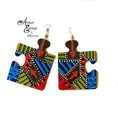 Puzzle earrings, 90s earrings, 80s earrings, hand painted earrings, art, earrings, abstract earrings, colorful earrings, big, wood, gamer