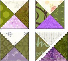 "Part 6  Hour glass blocks for  Bonnies  ""En Provence"" Mystery Quilt.  1 beige+2 greens+1 purple."