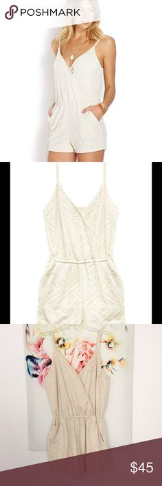 Ivory Lace Romper NWT Brand new with tags, this is the LAST ONE I have in stock. Ivory lace romper, fully lined. Double pocket front, adjustable soft cotton straps, a snap closure in the front to maintain modesty. Elastic waist. The Spotted Fawn Boutique Pants Jumpsuits & Rompers