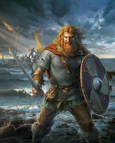 Artwork Depicting Vikings Coming Ashore.