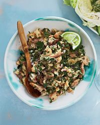 Most likely what I'll be serving next week:  Thai Catfish Salad (Laap Pla Duk) Recipe on Food & Wine - tilapia or swai also work well.
