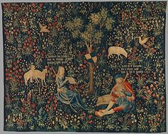 Shepherd and Shepherdess Making Music. 1500-1530 South Netherlands wool and silk tapestry