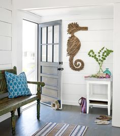 Driftwood Seahorse in Foyer: http://www.completely-coastal.com/2013/05/coastal-cottage-decorating.html