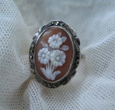 Antique Cameo Ring in Flower Motif - set in Sterling Silver with Marcasites  c.1900