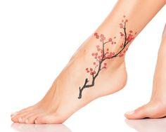 ankle tatttoo cherry blossom womens ideas