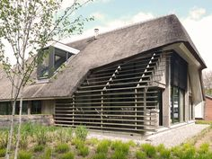 Exterior Design, Interior And Exterior, Unique Buildings, Thatched Roof, Modern Barn, Property Development, Brick And Stone, Residential Architecture, House Design