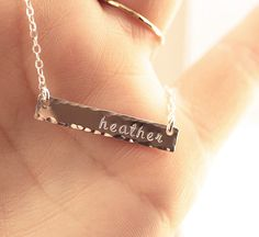 Personalized Bar Necklace Dainty Necklace Sterling by BijouxbyMeg