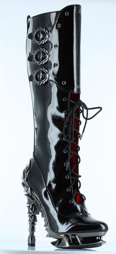 Hades Shoes Black Hyperion Stiletto Boots - Boots   RebelsMarket