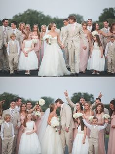 Exactly how I want my wedding to look! Bridesmaids in pink and Groomsmen in beige (or greyish brown)