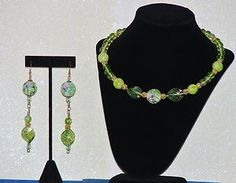 MCFROGGY'S ORIGINAL ONE-OF-A-KIND HANDCRAFTED LAMPWORK-CZECH-MEMORY WIRE NECKLACE-EARRING SET-GREEN. INCLUDES A FREE GIFT-CERTIFICATE OF AUTHENTICITY AND GIFT BAG-$29.99-FREE SHIPPING | eBay