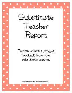 substitute teacher feedback report