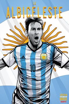 Argentina, Afiches fútbol Copa Mundial Brasil 2014 / World Cup posters by Cristiano Siqueira. Lionel Messi, Messi 10, Argentina World Cup, Argentina Soccer, Brazil World Cup, World Cup 2014, Messi Argentina, Argentina Team, World Cup Teams