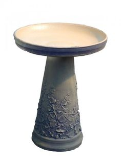 Ceramic bird bath.  Glazed finish.  Locking bowl secures bowl to the stand.
