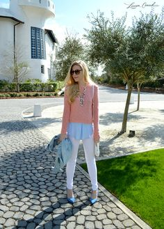 pink cropped sweater & light blue button down for spring