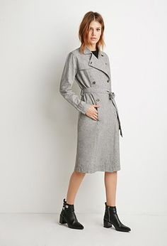 Houndstooth-Patterned Trench Coat | Forever 21 - 2000113463