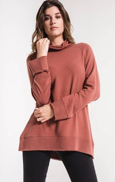 Mock Neck, Soft Fabrics, Pullover Sweaters, Clay, Leggings, Knitting, Sleeves, Model, How To Wear